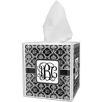 Monogrammed Damask Tissue Box Cover (Personalized)