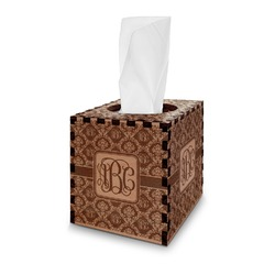 Monogrammed Damask Wooden Tissue Box Cover - Square (Personalized)