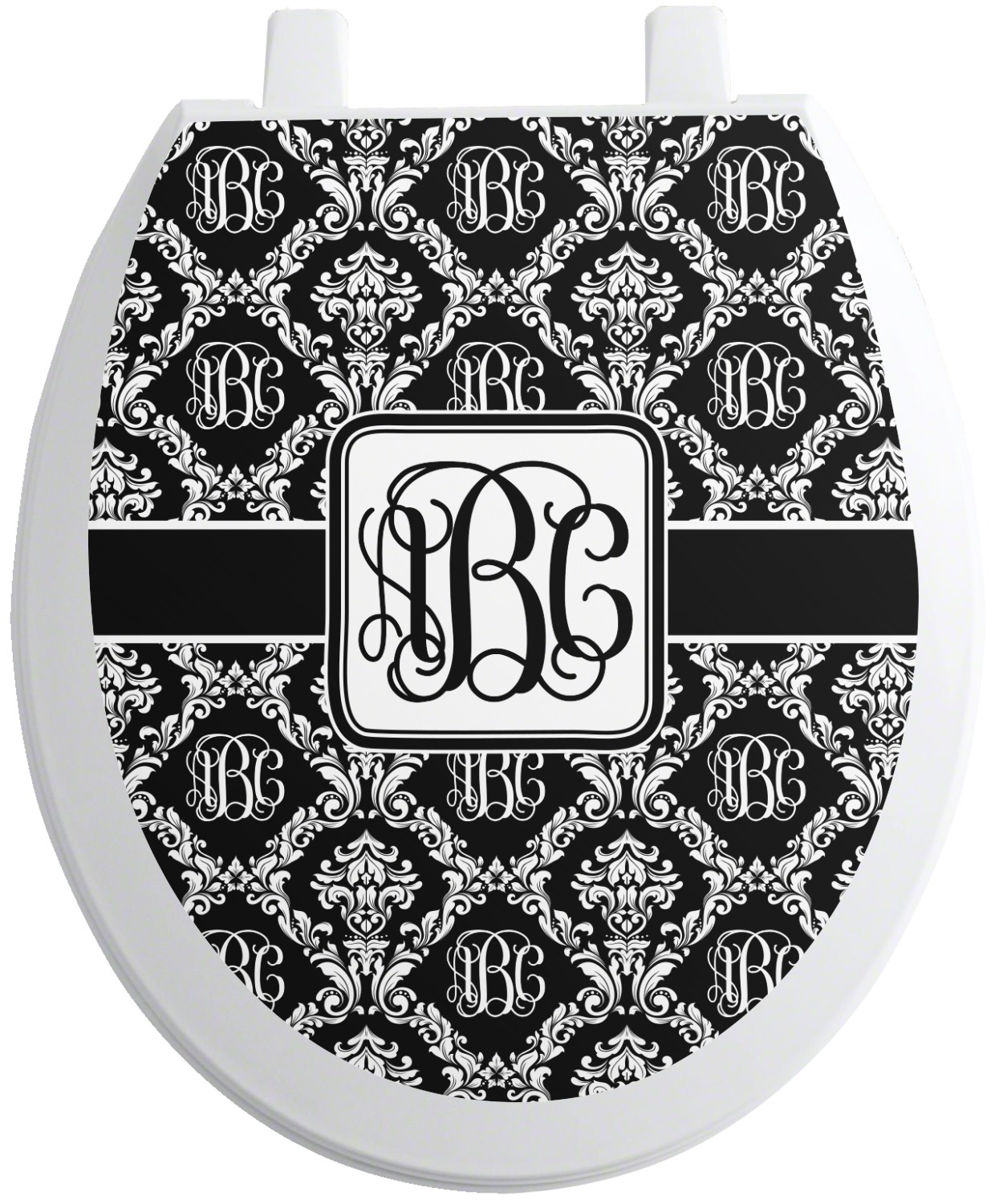 monogrammed damask toilet seat decal round personalized. Black Bedroom Furniture Sets. Home Design Ideas