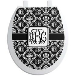 Monogrammed Damask Toilet Seat Decal - Round (Personalized)