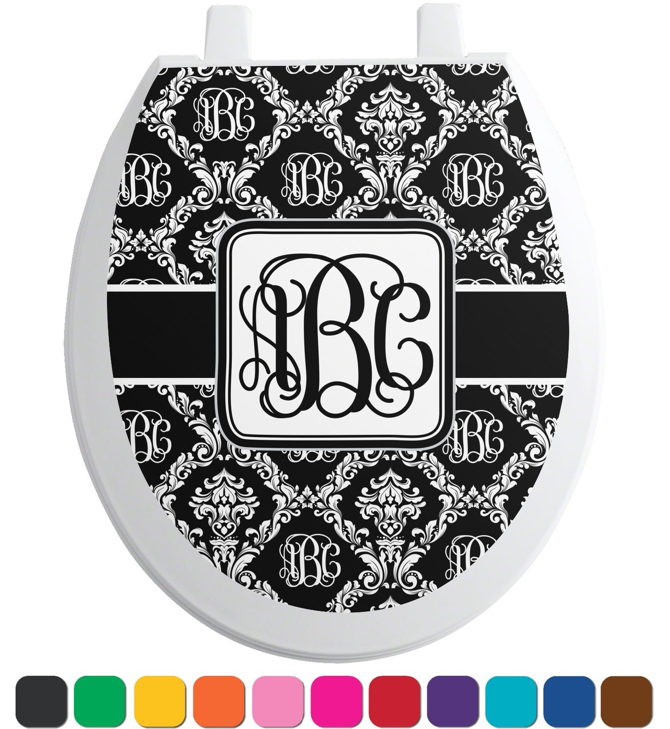 monogrammed damask toilet seat decal elongated. Black Bedroom Furniture Sets. Home Design Ideas