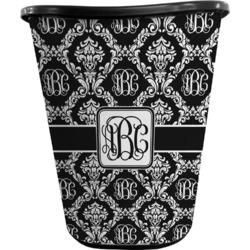 Monogrammed Damask Waste Basket - Double Sided (Black) (Personalized)