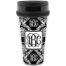 Monogrammed Damask Travel Mug (Personalized)