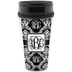 Monogrammed Damask Travel Mugs (Personalized)