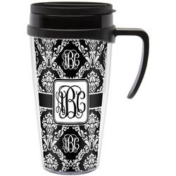 Monogrammed Damask Travel Mug with Handle (Personalized)