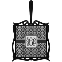 Monogrammed Damask Trivet with Handle (Personalized)
