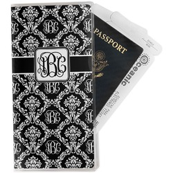 Monogrammed Damask Vinyl Passport Holder Personalized