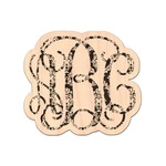 Monogrammed Damask Genuine Maple or Cherry Wood Sticker (Personalized)