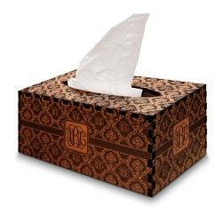 Monogrammed Damask Wooden Tissue Box Cover - Rectangle (Personalized)
