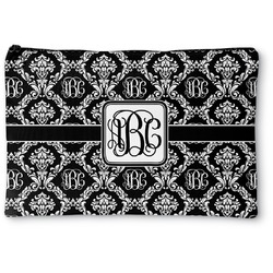 """Monogrammed Damask Zipper Pouch - Small - 8.5""""x6"""" (Personalized)"""