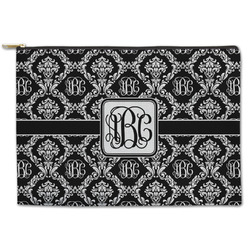 Monogrammed Damask Zipper Pouch (Personalized)
