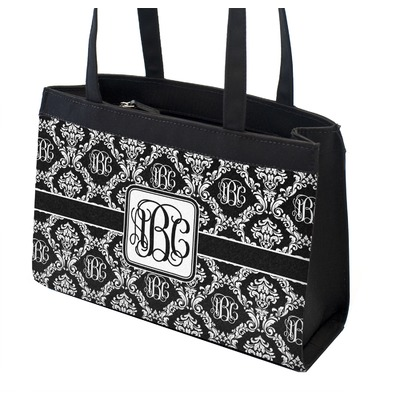 Monogrammed Damask Zippered Everyday Tote
