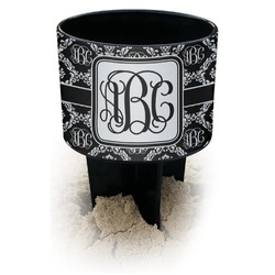 Monogrammed Damask Black Beach Spiker Drink Holder (Personalized)