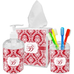 Damask Acrylic Bathroom Accessories Set w/ Name and Initial