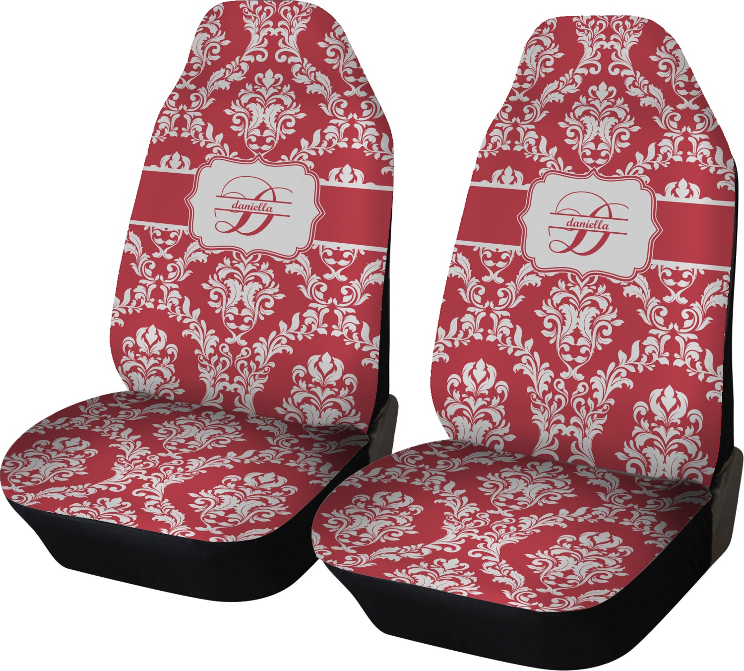 Damask Car Seat Covers Set Of Two Personalized