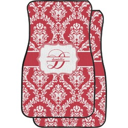 Damask Car Floor Mats (Front Seat) (Personalized)