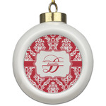 Damask Ceramic Ball Ornament (Personalized)