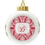 Damask Ceramic Ball Ornament (Personalized)