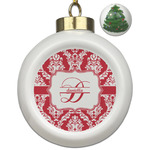 Damask Ceramic Ball Ornament - Christmas Tree (Personalized)