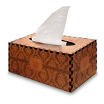 Damask Wooden Tissue Box Cover - Rectangle (Personalized)