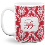 Damask 11 Oz Coffee Mug - White (Personalized)