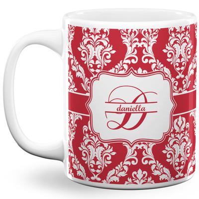 Damask 11 Oz Coffee Mug - White (Personalized)