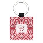 Damask Genuine Leather Rectangular Keychain (Personalized)