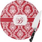 Damask Round Glass Cutting Board (Personalized)