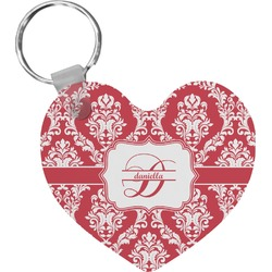 Damask Heart Plastic Keychain w/ Name and Initial