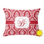 Damask Outdoor Throw Pillow (Rectangular) (Personalized)