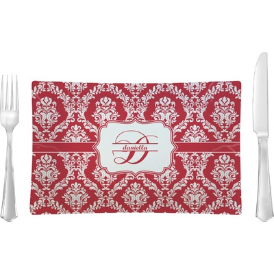 Damask Rectangular Glass Lunch / Dinner Plate - Single or Set (Personalized)