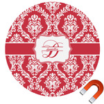 Damask Round Car Magnet (Personalized)