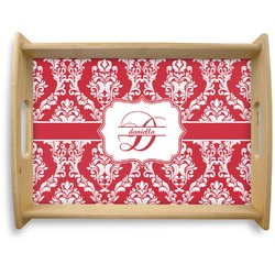Damask Natural Wooden Tray - Large (Personalized)