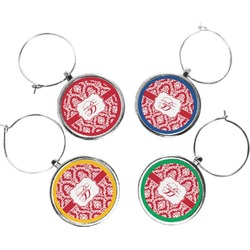 Damask Wine Charms (Set of 4) (Personalized)