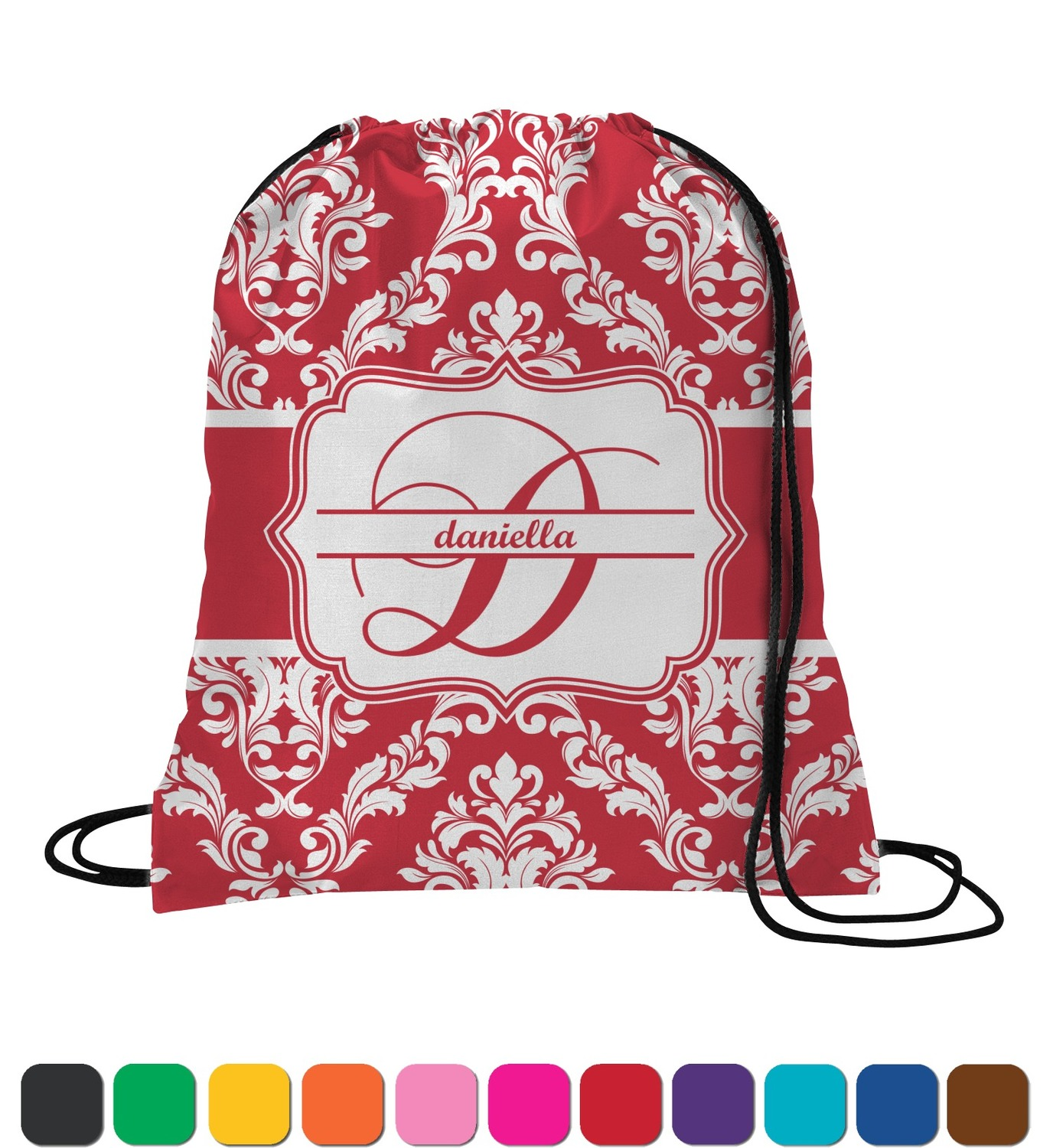 Damask Drawstring Backpack Small Personalized