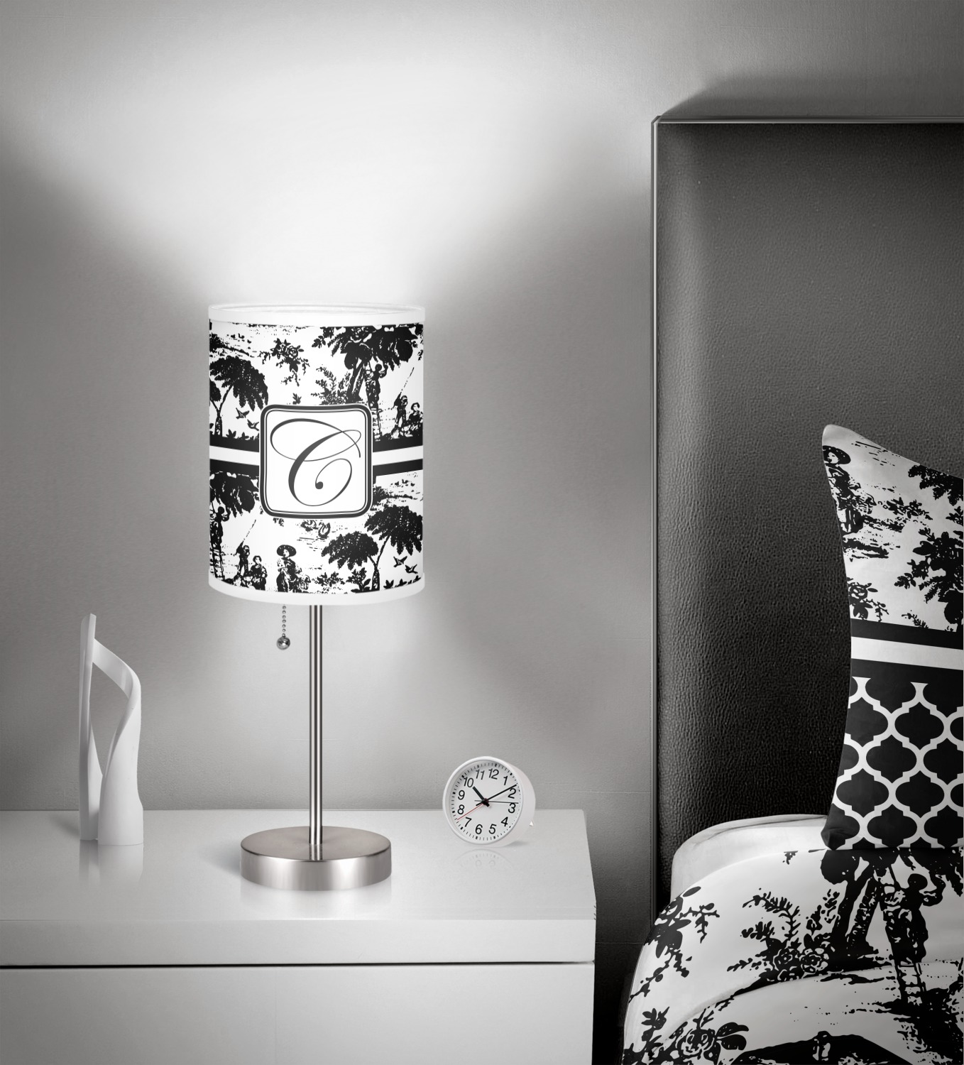 toile drum lamp shade polyester personalized. Black Bedroom Furniture Sets. Home Design Ideas
