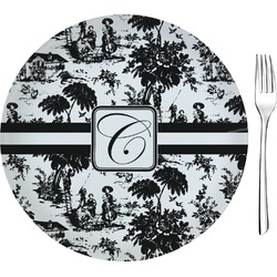 "Toile Glass Appetizer / Dessert Plates 8"" - Single or Set (Personalized)"