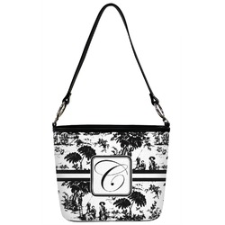 Toile Bucket Bag w/ Genuine Leather Trim (Personalized)