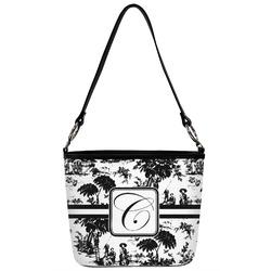 Toile Bucket Bag w/ Genuine Leather Trim (Personalized)