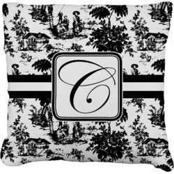 """Toile Faux-Linen Throw Pillow 16"""" (Personalized)"""