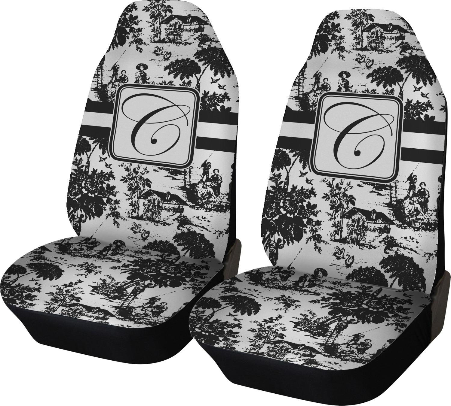 Toile Car Seat Covers Set Of Two Personalized