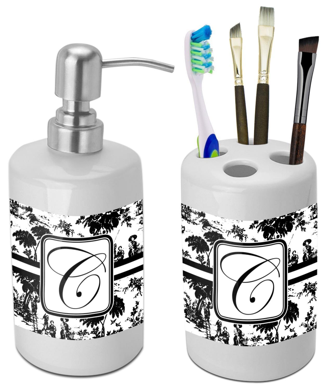 Toile Bathroom Accessories Set Ceramic Personalized