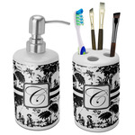 Toile Bathroom Accessories Set (Ceramic) (Personalized)