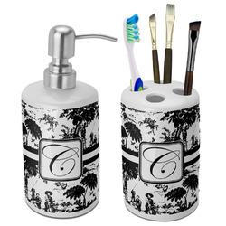 Toile Bathroom Accessories Set (Ceramic) (Personalized)