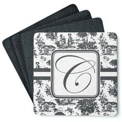 Toile Square Rubber Backed Coasters - Set of 4 (Personalized)