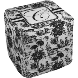 Toile Cube Pouf Ottoman (Personalized)
