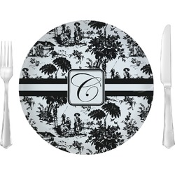 "Toile Glass Lunch / Dinner Plates 10"" - Single or Set (Personalized)"