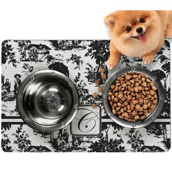 Toile Dog Food Mat - Small w/ Initial