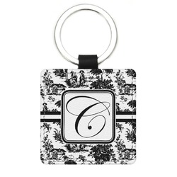 Toile Genuine Leather Rectangular Keychain (Personalized)