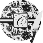 Toile Round Glass Cutting Board (Personalized)